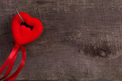 Red hearts on  wooden background Royalty Free Stock Photo