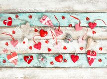 Red hearts wooden background Valentines Day decoration Love. Red hearts on rustic wooden background. Valentines Day decoration. Love concept Royalty Free Stock Photo