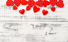 Red hearts wooden background Valentines Day Love Royalty Free Stock Image