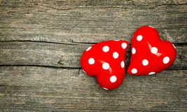 Red Hearts On Wooden Background. Valentines Day Royalty Free Stock Photo
