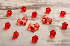 Red hearts on wooden board Stock Photo