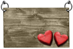 Red Hearts on Wooden Signboard with clipping path Royalty Free Stock Image