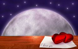 Red hearts on wooden table - moon background Royalty Free Stock Photo