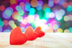 Red Hearts on wooden table.Valentine`s day theme . High resolution photo. Stock Photography