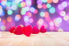 Red Hearts on wooden table.Valentine`s day theme . High resolution photo. Stock Images