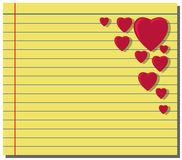Red hearts on yellow note paper Royalty Free Stock Photo