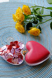 Red hearts and a yellow rose portrait top Royalty Free Stock Photos