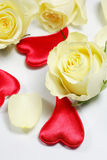 Red hearts and yellow roses Royalty Free Stock Images