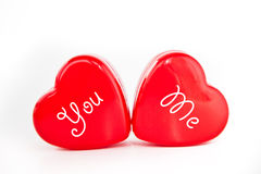 Red hearts with YOU and ME Stock Image