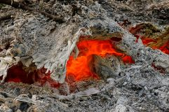 Red heat among the gray ash in a dying fire Royalty Free Stock Photography