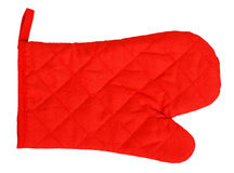 Red heat protective mitten Stock Images