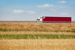 Red heavy truck on the road. Delivery cargo logistic. Spain Stock Images