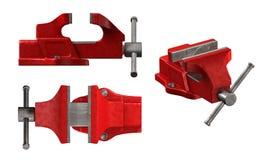 Red heavy vise. On white stock illustration