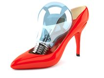 Red heel with light bulb Stock Photos