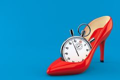 Red heel with stopwatch. Isolated on blue background. 3d illustration royalty free illustration