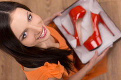 Red heeled shoes. Royalty Free Stock Photos