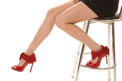 Red heels leags woman stool Royalty Free Stock Photos