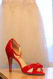 Red heels for wedding Stock Photo