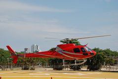 Red Helicopter. Landing on heliport in Rio De Janeiro stock photography