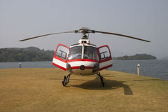Red helicopter Stock Image