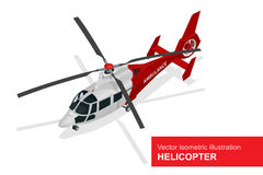 Red helicopter. Vector isometric illustration of Medical evacuation helicopter. Air medical service. stock illustration
