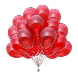 Red helium balloons bunch holiday party celebrate decoration. Red holiday party balloons bunch, happy birthday decoration glossy, helium balloon group shiny Stock Images