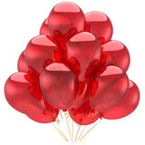 Red helium party ballons (Hi-Res). Helium balloons total red. Holiday concept. Happiness emotions. This is a detailed 3D render. Isolated on white background Stock Photos