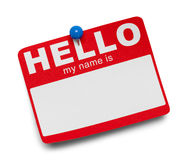Red Hello Tag and Pin royalty free stock images