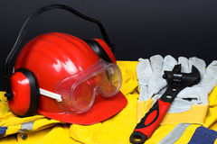 Red helmet Stock Images