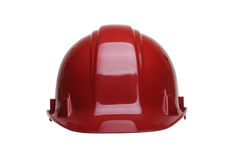 Red helmet. Red  construction helmet isolated on white background Stock Photos