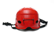 Red helmet. Close up of new red helmet with black strips isolated on the white background Royalty Free Stock Photography