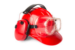 Red helmet with ear protectors and fathers Royalty Free Stock Photos