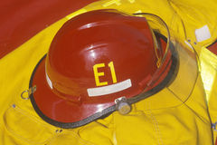 Red helmet and yellow jacket of fire fighter, Beverly Hills, California Stock Photo