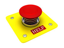 Red help button. Isolated on white background stock illustration