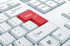 Computer Keyboard With Red Help Button Stock Photo Image
