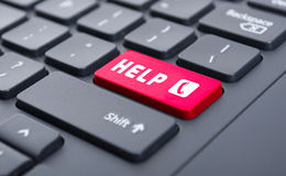 Red help with call symbol button on keyboard concept Stock Image