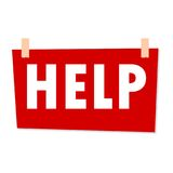 Red Help Sign - illustration on white background Royalty Free Stock Photo