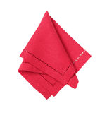 Red hemstich napkin. Hemstitched red linen dinner napkin Royalty Free Stock Photography