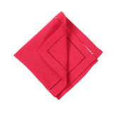 Red hemstich napkin. Hemstitched red linen dinner napkin Stock Images
