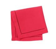 Red hemstich napkin. Hemstitched red linen dinner napkin Stock Image