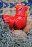 Red hen doll and fresh egg from the farm Royalty Free Stock Image