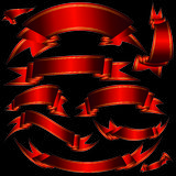 Red heraldic ribbons stock illustration