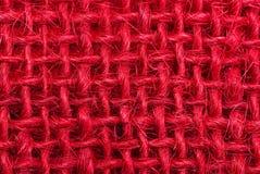 Red hessian fabric macro background Royalty Free Stock Photo