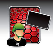 Red hexagon advertisement with military soldier Royalty Free Stock Photography