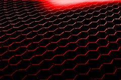 Red hexagon background and texture. Black and red hexagon background texture. perspective design. 3d illustration Stock Image