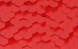 Red Hexagon Background Texture. 3d render. Red Hexagon Metal Background Texture. 3d illustration Royalty Free Stock Images