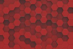 Red Hexagon Background Texture. 3d render Stock Photos