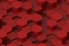 Red Hexagon Background Texture. 3d render. Red Hexagon Metal Background Texture. 3d illustration Stock Photo