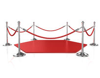 Red hexagon carpet surrounded with red rope and silver column Stock Photo
