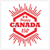 Red hexagon Happy Canada 150 emblem icon with sunbeam Royalty Free Stock Photos